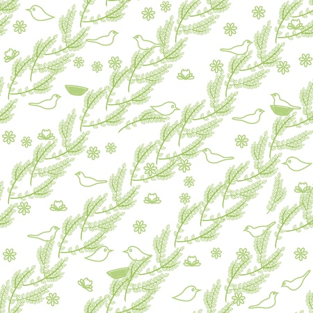 Green seamless pattern with branches and birds Stock Vector - 15399082