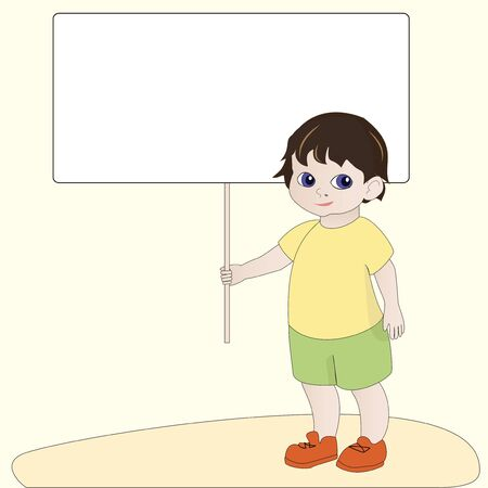 placards: Cartoon boy holding empty blank banner sign Illustration