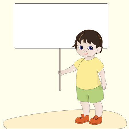 Cartoon boy holding empty blank banner sign Stock Vector - 15399086