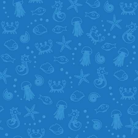 Seamless pattern with sea creatures and bubbles Vector