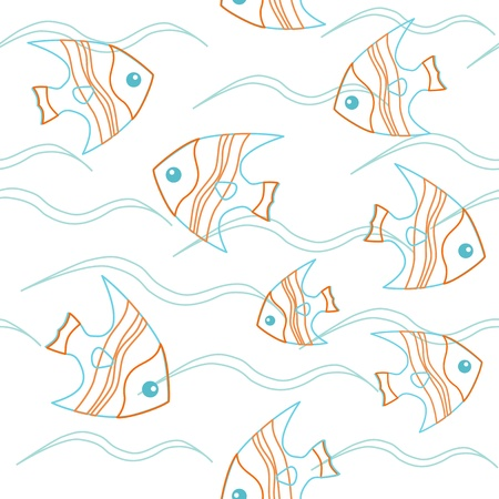 Contour fish swimming in the waves  Seamless texture  Stock Vector - 15399076