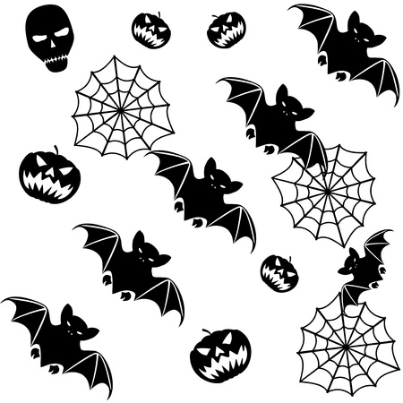Halloween seamless background with bats on white Stock Vector - 15431224