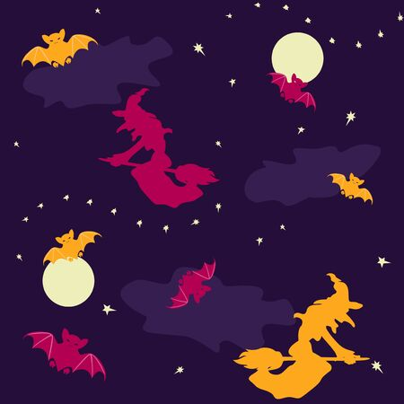Halloween seamless background with witches and bats Stock Vector - 15431222