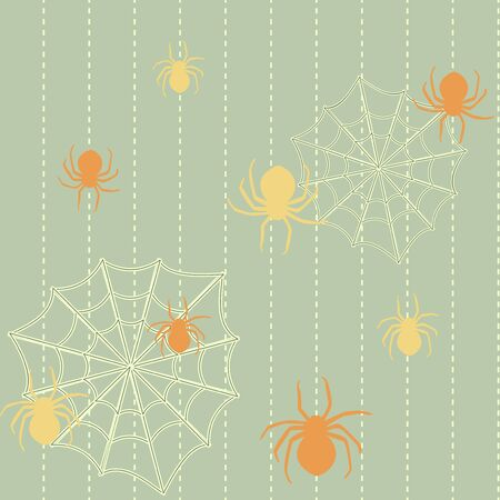 Halloween seamless background with spiders and web Stock Vector - 15466534