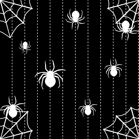 Halloween seamless background with spiders and web Illustration
