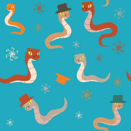 Colorful background with cartoon snakes and hats Stock Vector - 15689190