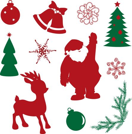 Collection of christmas elements isolated on white Stock Vector - 16000523