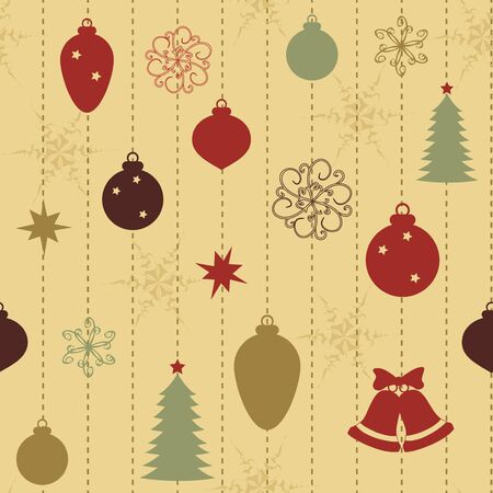 Christmas seamless pattern with balls and fir-tree Vector