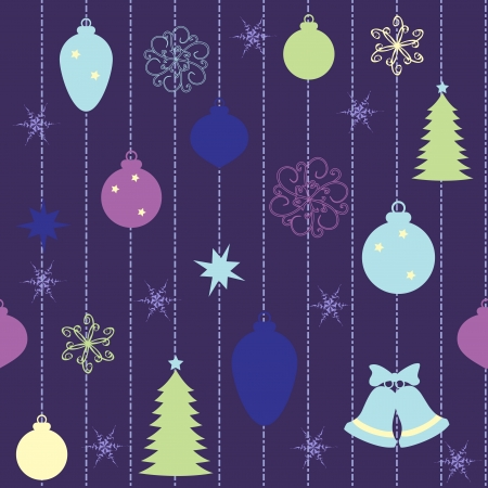 Christmas seamless pattern with balls and fur-tree Stock Vector - 16265353