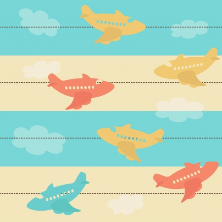 Seamless pattern with airplanes Stock Vector - 17238910