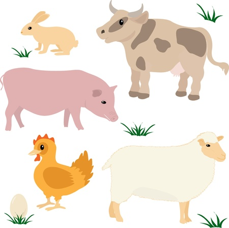 Farm animals vector set isolated on white