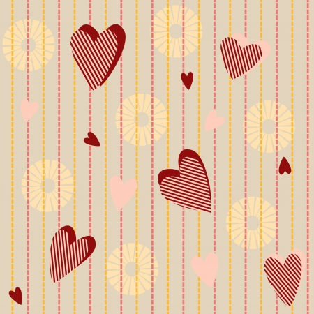 Seamless pattern with striped hearts and suns Vector