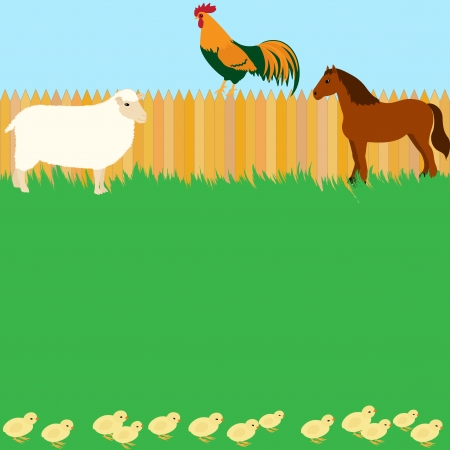 Vector card design with horse, sheep and rooster Stock Vector - 17565677