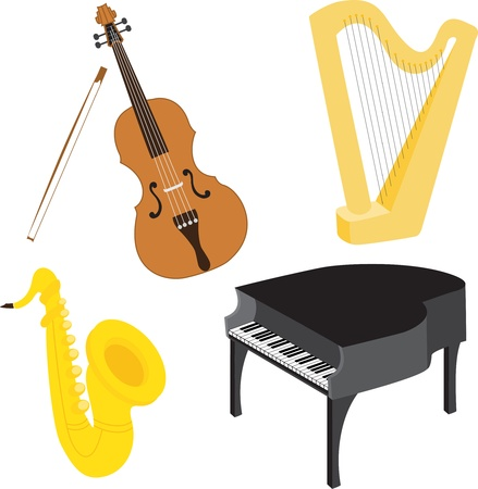 Cartoon music instruments