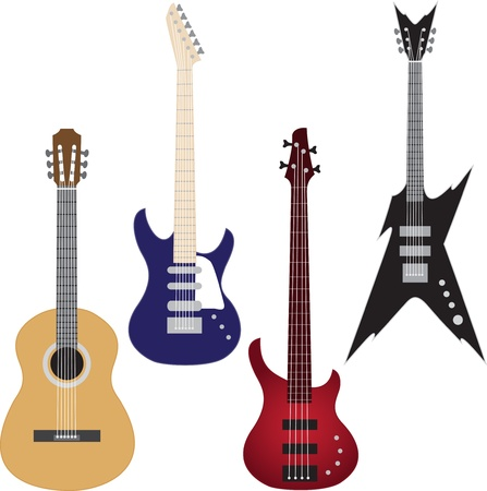 Vector set of guitars isolated on white