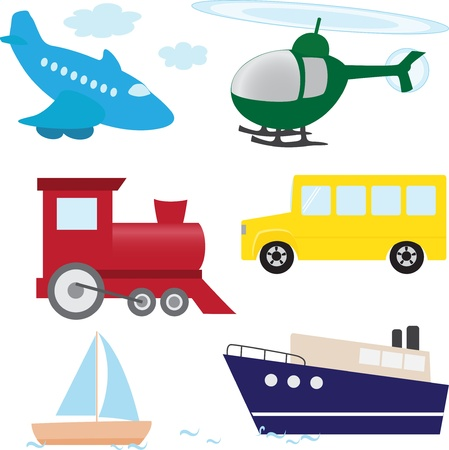 steamship: Vector set of cartoon transport isolated on white
