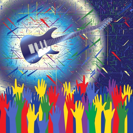 Rock concert background with guitar and hands up Vector