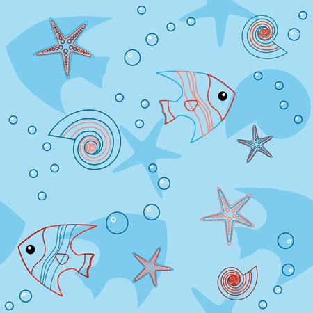 Seamless pattern with fish, shells and seastars