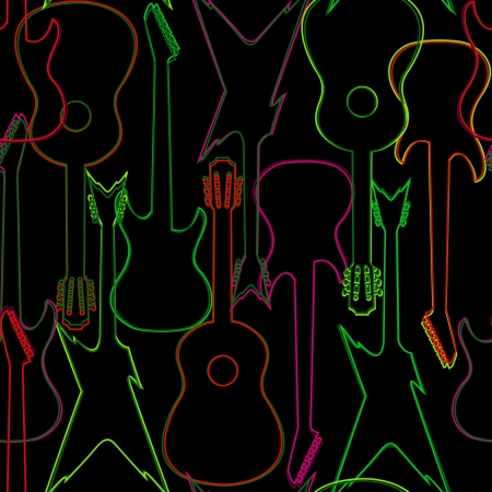 Seamless background with colorful acoustic and electric guitars Vector