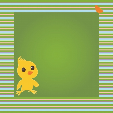 Greeting card with chicken and butterfly in stripy frame Vector