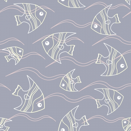 Seamless background with fish and waves on grey
