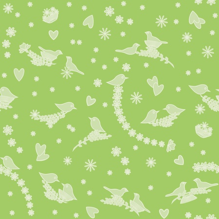 Romantic seamless background with birds, flowers and hearts Vector