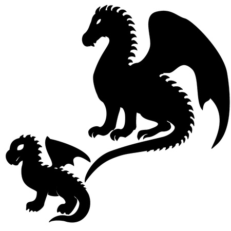 Set of adult and baby dragon silhouettes isolated on white