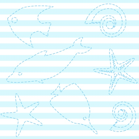 Seamless pattern with sea life and stripes
