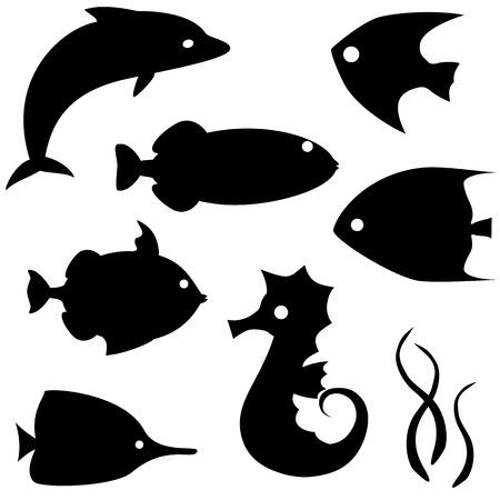 scalare: Fish silhouettes vector set 2