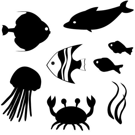 scalare: Fish silhouettes vector set 3 Illustration
