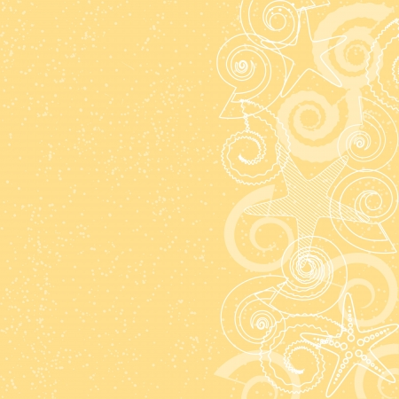 Yellow background with sea life and space for text Vector