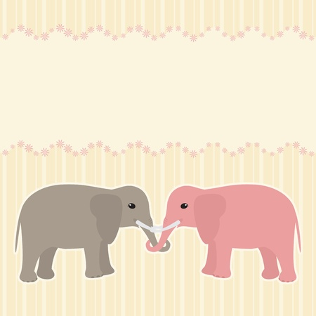 Vector card with two elephants and place for text Vector