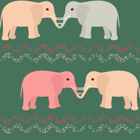 Romantic seamless pattern with elephants and hearts Vector