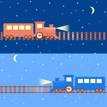 Cartoon seamless pattern con trenes en el cielo nocturno