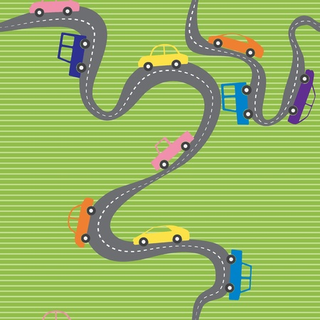 Seamless pattern with curvy road and cartoon cars Vector