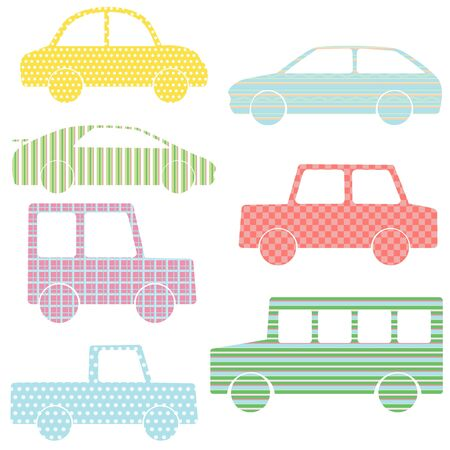 Vector set of car silhouettes with simple patterns Vector