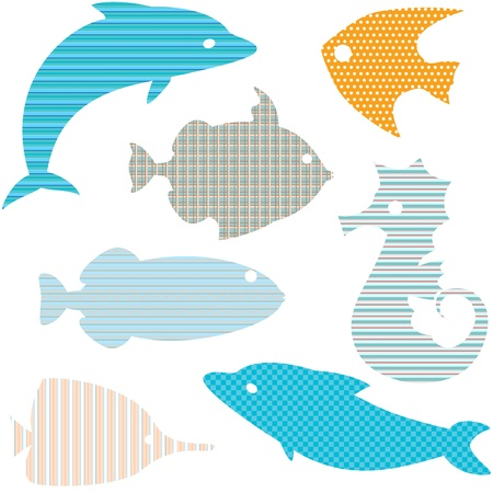 Vector collection of fish silhouettes with simple patterns Vector