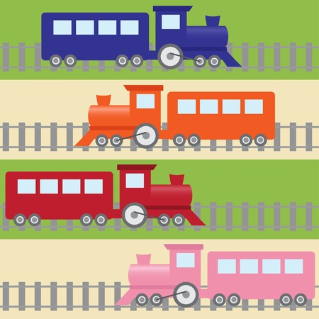 Cartoon stripy seamless pattern with colorful trains Vector