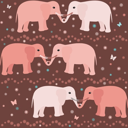 Romantic seamless pattern with elephants, flowers and hearts Vector