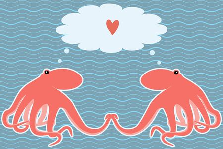 Romantic marine card with two octopuses Vector