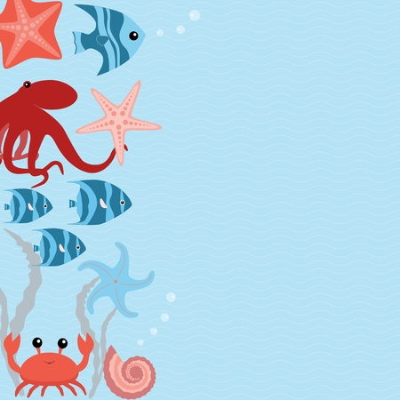 Wavy marine card with sea animals and place for text Vector