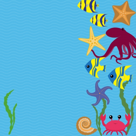 Blue marine card with colorful sea animals Vector