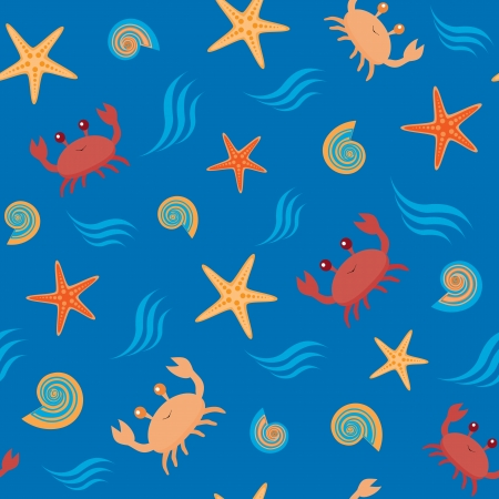 Marine seamless pattern with crabs and shells Vector
