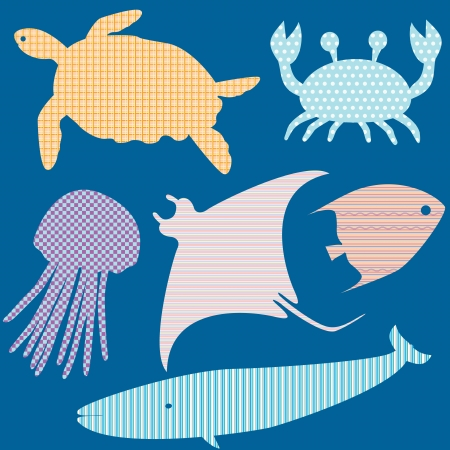 stingray: Collection of fish silhouettes with simple patterns 2 Illustration