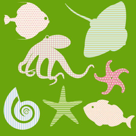 Collection of fish silhouettes with simple patterns 3 Stock Vector - 18872500
