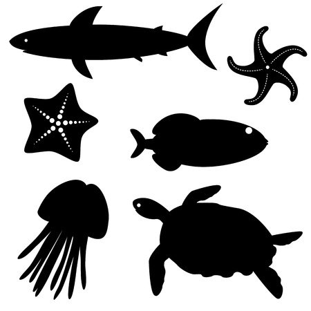 Set of fish silhouettes isolated on white Vector