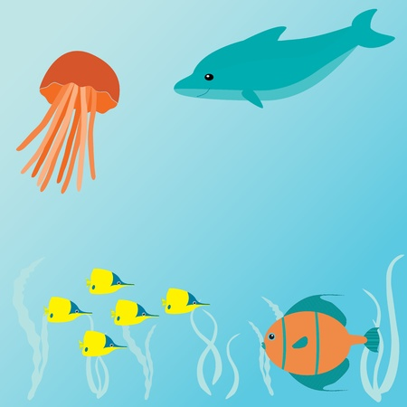 Marine vector card with sea creatures and place for text Vector