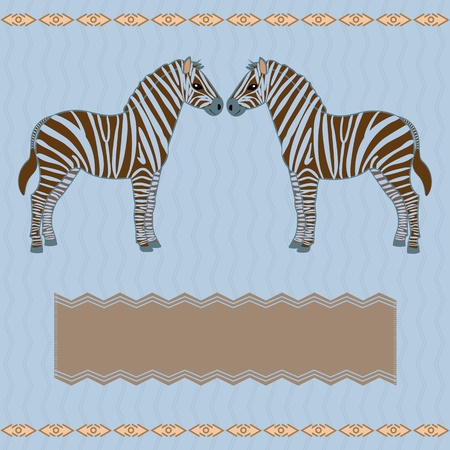 Vector zebra card with wavy pattern and place for text Vector