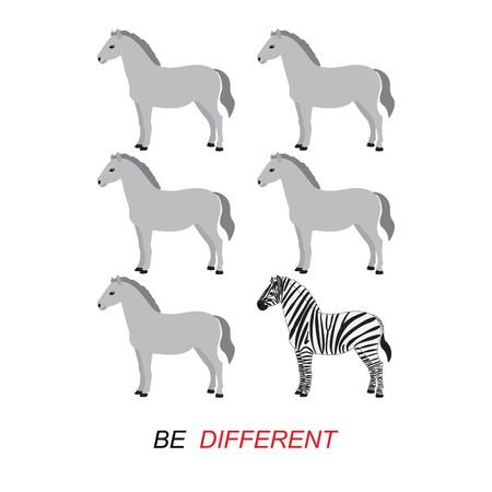 etre diff�rent: Soyez vecteur concept diff�rent - z�bre et chevaux Illustration
