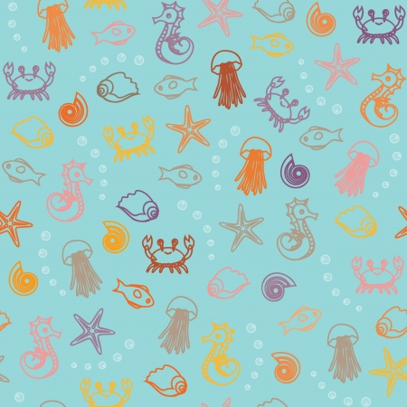 Seamless background with many sea animal silhouettes Stock Vector - 18959130